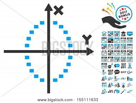 Dotted Ellipse Plot pictograph with bonus 2017 new year symbols. Vector illustration style is flat iconic symbols, modern colors.