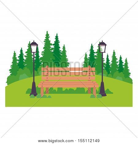 Bench trees and lamp icon. Park nature outdoor season spring and summer theme. Isolated design. Vector illustration