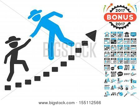Gentlemen Education Growth icon with bonus 2017 new year clip art. Vector illustration style is flat iconic symbols, modern colors.