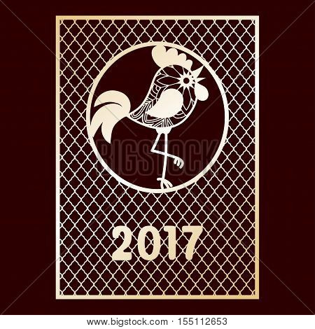 Openwork golden card with cockerel. New Year greeting card 2017. Laser cutting template for greeting cards envelopes party invitations interior decorative elements.