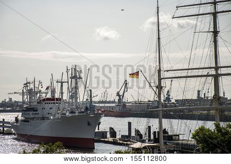 Port Hamburg in Germany ship lying in Harbor