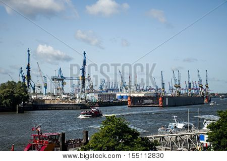 Port Hamburg in Germany biggest industrial Harbor