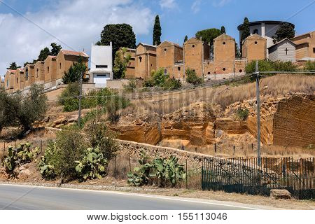 Catholic cemetery on the hill in Agrigento, Sicily, Italy