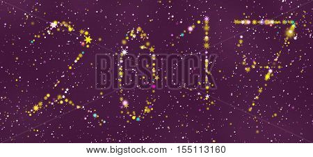 happy new year 2017 greeting card design with stars in different colors and shapes