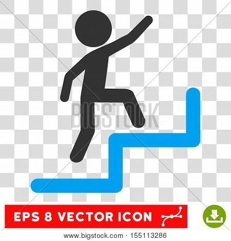 Child Steps Upstairs EPS vector icon. Illustration style is flat iconic bicolor blue and gray symbol.