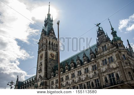 Hamburg City Germany the Town Hall old historic Building