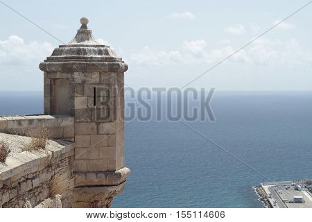 sentry box in santa barbara castle with the sea in the background