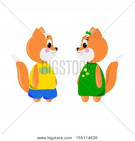 Two cute cartoon Foxs on a white background can be used for wallpaper design card invitation.