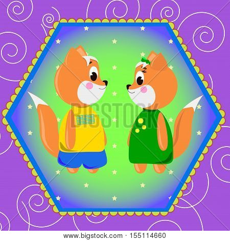Emblem card with cute cartoon Foxs can be used for wallpaper design card invitation.