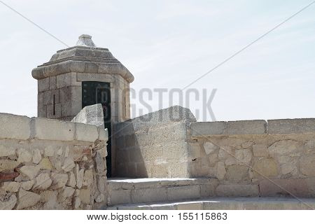 sentry box in santa barbara castle with the sky in the background