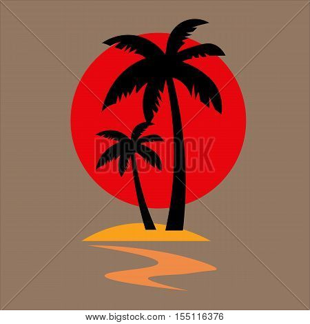 Silhouettes of palm tree and sun. Concept for travel agency, beach hotel, tropical resort. Summer vacation symbol. Vector logo design template.