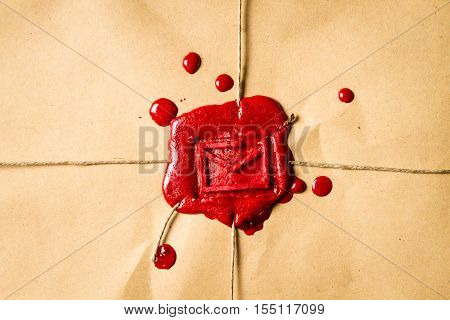 Close-up On An Envelope With Red Sealing Wax
