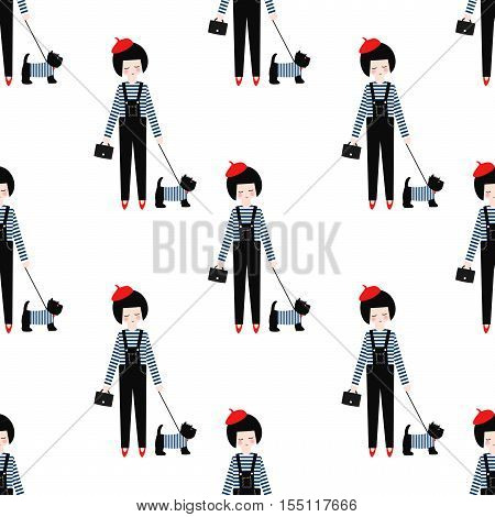 Cute girl with scottish terrier seamless pattern on white background. Vector illustration of girl with dog. Fashion design for textile, wallpaper, fabric etc.