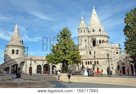 BUDAPEST HUNGARY - SEPTEMBER 29 2016: Towers of Fishermen's Bastion in the Buda castle