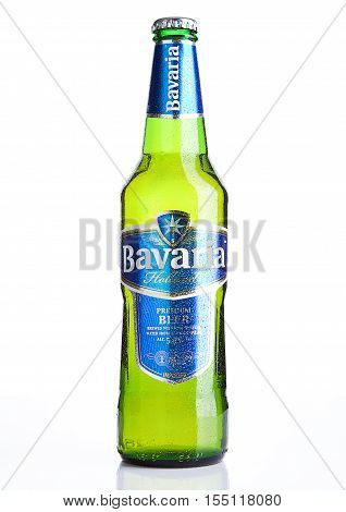LONDON UK - NOVEMBER 05 2016.Cold bottle of Bavaria Premium Beer on white background. Bavaria is the second largest brewery in the Netherlands founded before 1680.