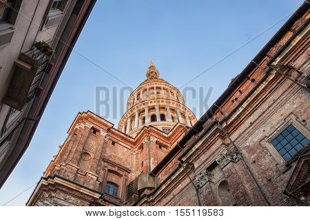 View of the famous Cupola of the San Gaudenzio Basilica in Novara Italy.