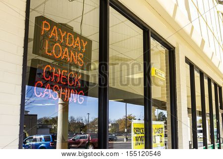 Indianapolis - Circa November 2016: Check Into Cash Consumer Location. Check Into Cash is a payday loan company II