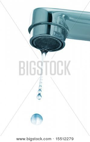 drops and faucet isolated on a white