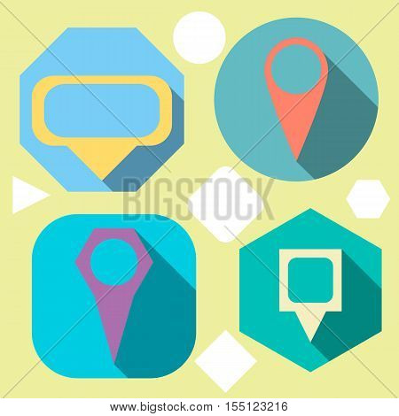 vector set of colored templates as gps location pins