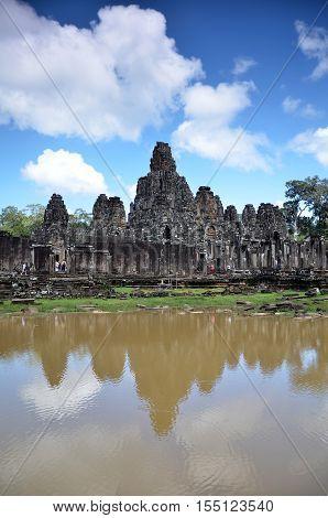 Ancient Bayon Temple At Angkor Wat, Siem Reap, Cambodia