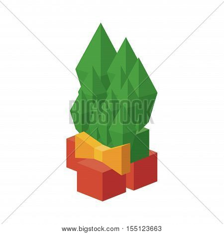 Isometric pine with bowtie icon. Christmas season decoration and celebration theme. Isolated design. Vector illustration