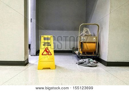 The washroom Cleaning in process not entry.