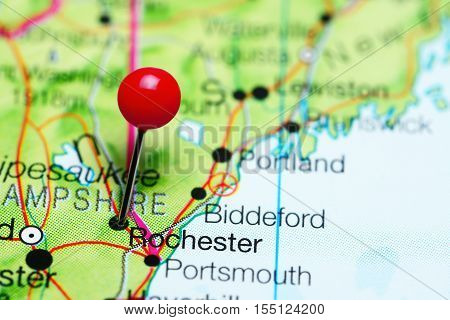 Rochester pinned on a map of New Hampshire, USA