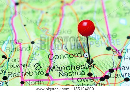 Manchester pinned on a map of New Hampshire, USA