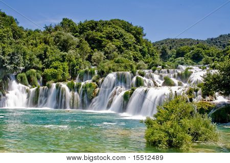 Waterfall in Krka national park in Croatia
