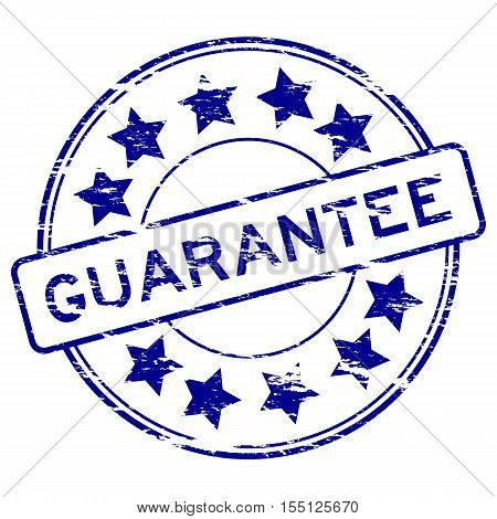 Grunge blue guarantee with star icon round rubber stamp