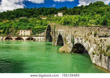 Devils Bridge Lucca in summer in Italy