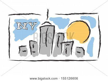 NY hand drawn cityscape symbol vector illustration