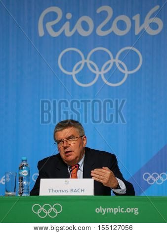 RIO DE JANEIRO, BRAZIL - AUGUST 7, 2016: President of the International Olympic Committee Thomas Bach during press conference at Rio 2016 Olympic Games Press Center