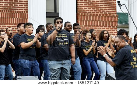 Ft. Washington Maryland USA - September 23 2016: Oxon Hill High School Vocal Music Department performing at National Church of God on Bock Rd
