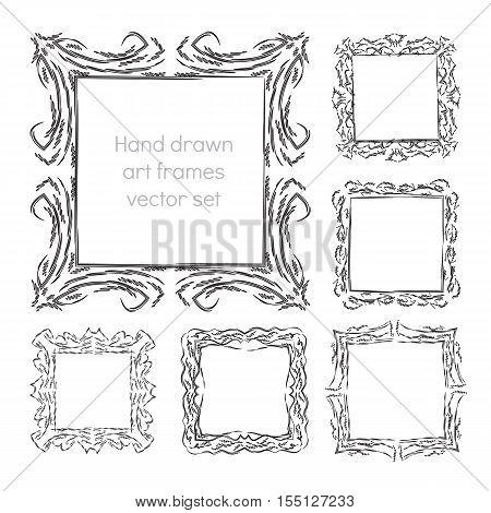 hand drawn art frames abstract vector illustration