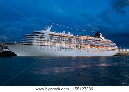 Cruise ship in venice at night, Italy