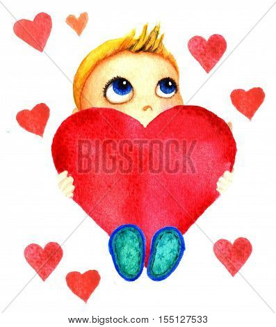 One little cute smiling boy holding a big red heart in his hands. Charity baby. Kid dreams and hopes to receive charity. Isolated watercolor drawing on a white background. Greeting card, banner, print, poster, sticker, website.