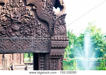 Stucco ancient. Stucco adorn ancient sanctuary. Huay Kaew temple in Lopburi, Thailand