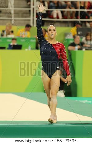 RIO DE JANEIRO, BRAZIL - AUGUST 7, 2016: Olympic champion Aly Raisman of United States after competing on the floor exercise at women's all-around gymnastics qualification at Rio 2016 Olympic Games