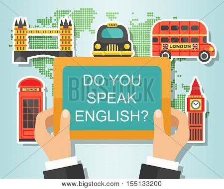 Do You Speak English. English Course Banner design with London landmarks, vector illustration. Studying English Concept