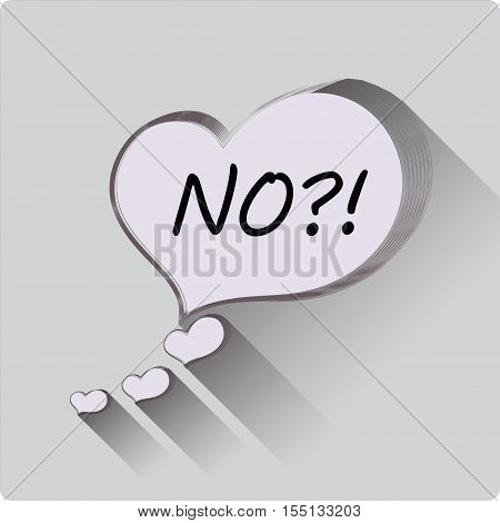 Message. NO! Flat icon of hearts. Flat design. Vector