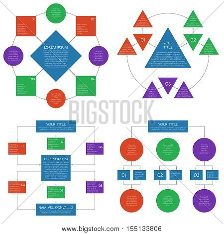 Hierarchy diagrams flowchart vector infographics set.Business structure connection teamwork illustration