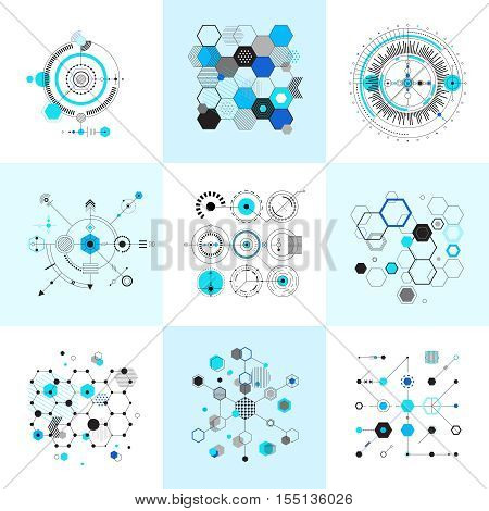 Honeycomb and circular bauhaus abstract geometric shapes set. Modernistic circle elements. Vector illustration