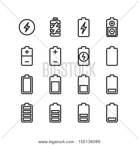 Electric battery, phone charging thin line vector icons. Electricity energy power, accumulator level charger illustration