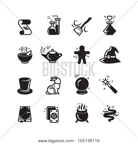 Magical vector icons set. Magic and trick, mystery and performance illustration