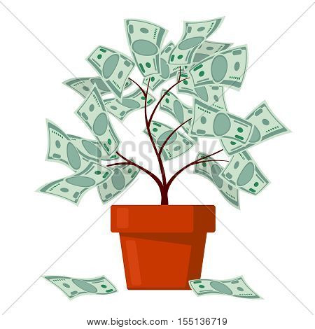 Money tree, business banking, abundance vector concept. Finance wealth and profit illustration