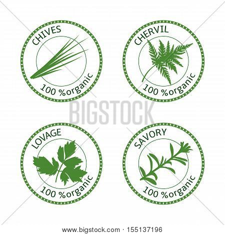 Set of herbs labels. 100 organic. Greenery collection. Savory, lovage, chives, chervil. Vector illustration. Round emblem for cosmetics, restaurant, store health care logo price tag label web