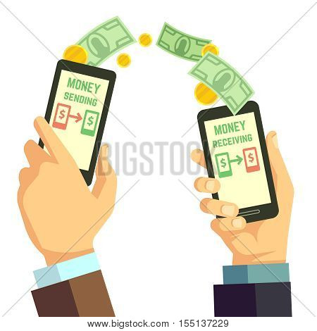 Wireless sending money with smartphone vector banking concept. Receiving and sending processing cash illustration