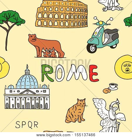 Cheerful color pattern set of Rome symbols. sant angelo, basilica, romul, Wolf, bocca della verita, scooter, cat, croissant, cappuccino pine tree
