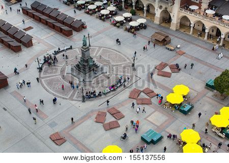 KRAKOW, POLAND - SEP 20, 2016: Top view of the main square of the city. Krakow has been awarded a number of top international rankings such as the 1st place in the Top city-break destinations.